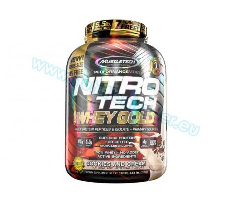 Muscletech Nitrotech 100% Whey Gold - (5,5 Lbs.) - Cookies & Cream