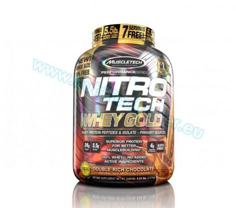Muscletech Nitrotech 100% Whey Gold - (5,5 Lbs.) - Double Rich Chocolate