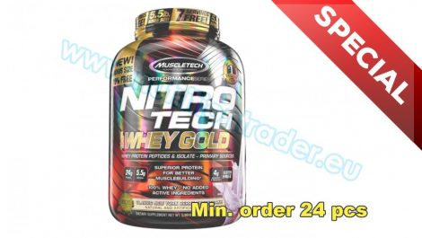 Muscletech Special Buy 12 pcs Nitrotech 100% Whey Gold - (5,5 Lbs.) - French Vanilla Cream and get our Special Price