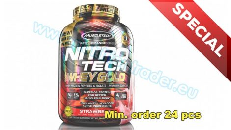 Muscletech Special Buy 12 pcs Nitrotech 100% Whey Gold - (5,5 Lbs.) - Strawberry and get our Special Price